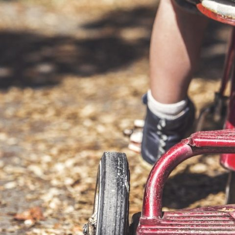 Rear image of child on tricycle
