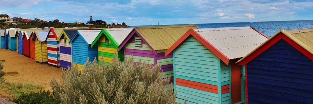 Colourful beach huts at the beach