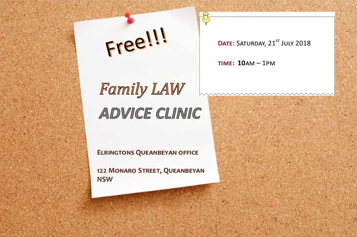 Family Law Noticeboard with Information on Free Family Law Clinic