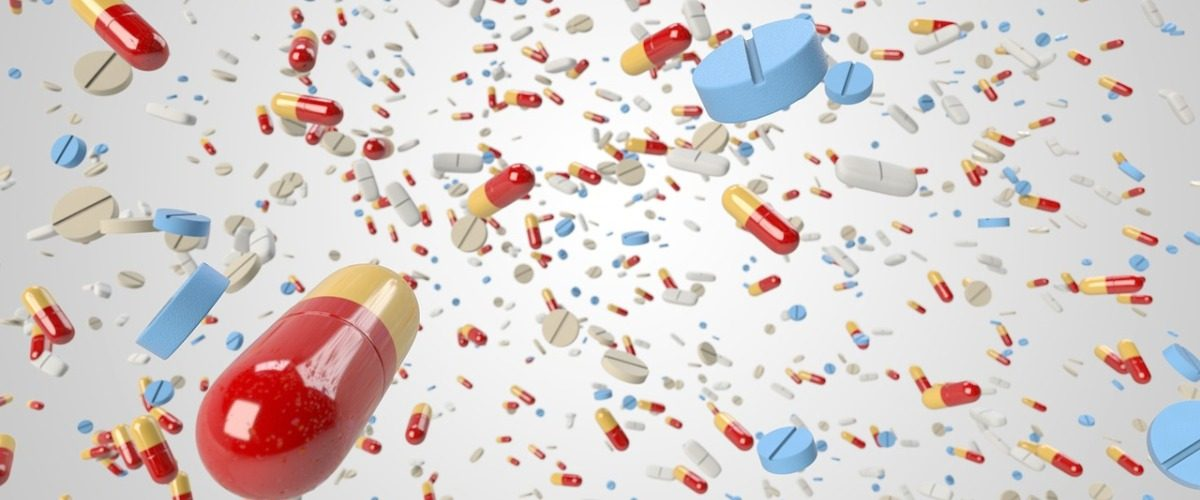 Medcations - pills flying through the air