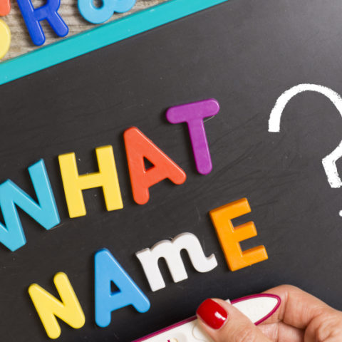 What Name - Blackboard with alphabet