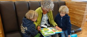 Grandmother reading to 2 boys