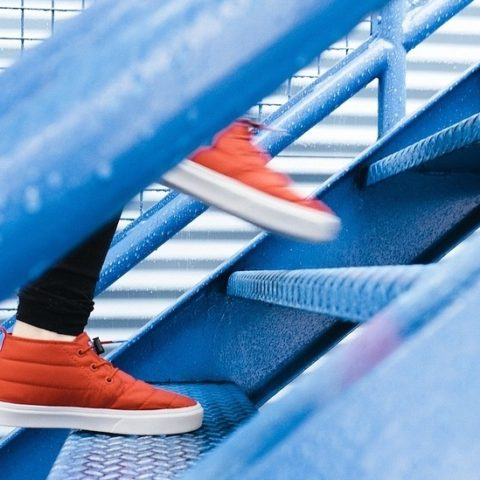 Step by Step - Red shoes walking up blue steps Image by Free-Photos from Pixabay