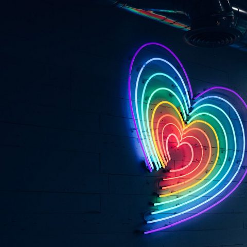 Rainbox heart in lights